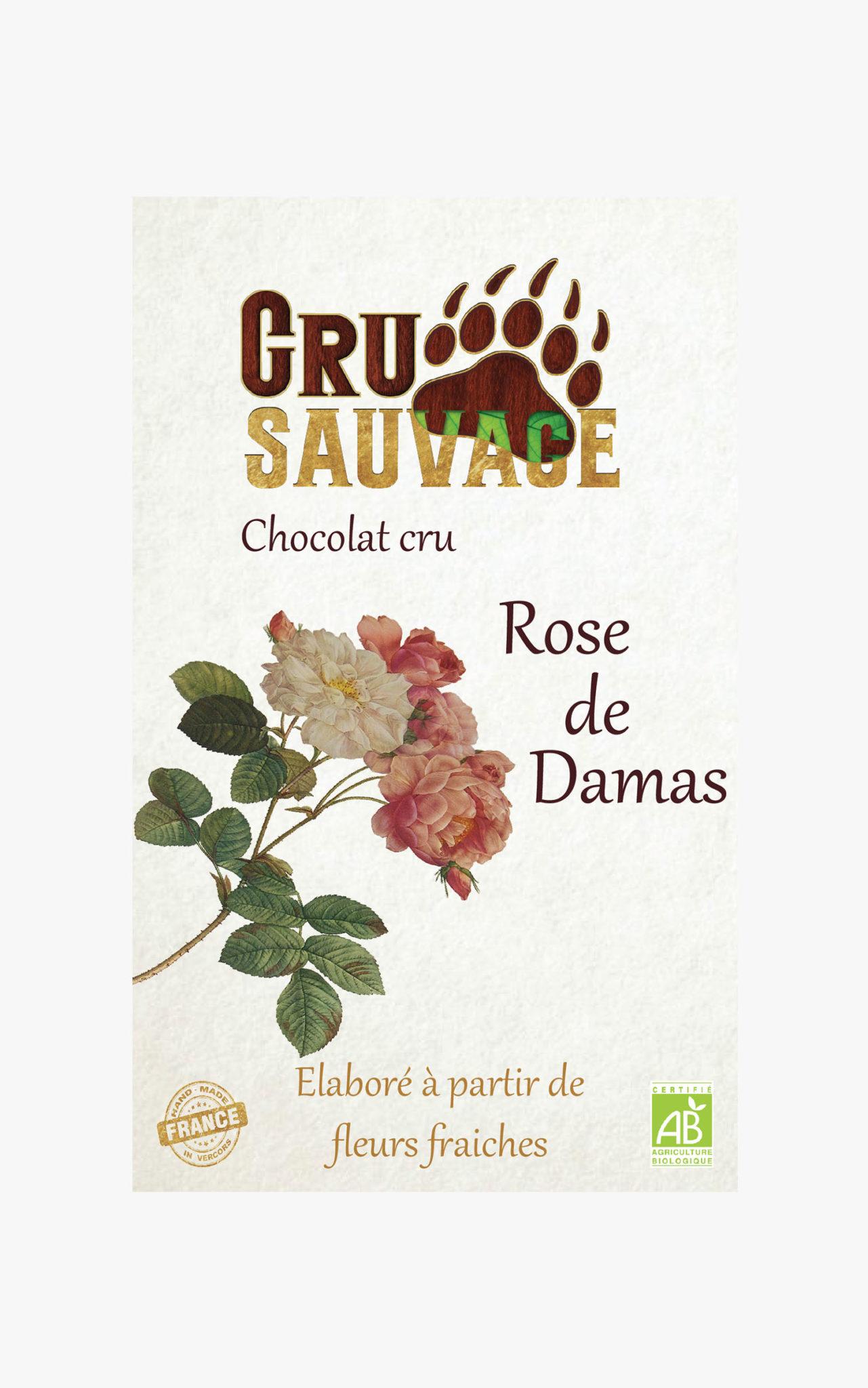 Chocolat cru sauvage Rose de Damas
