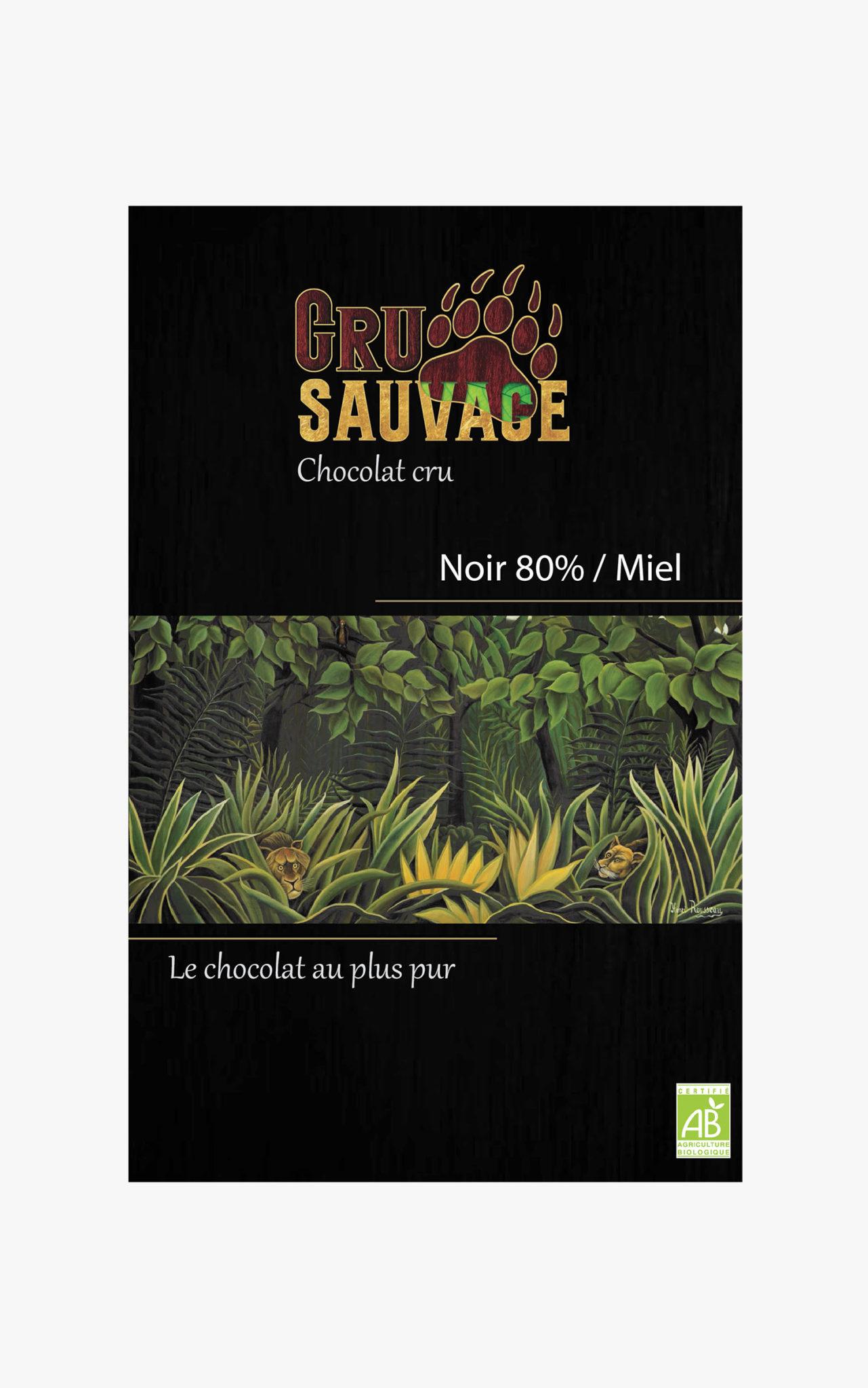 Chocolat cru sauvage Noir 80% Miel